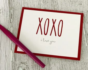 Valentine's Day Card   Love Card   XOXO Card   Rae Dunn Inspired