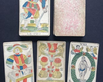 c.1820 old French Tarot Cards Renault Besancon 71/78 painted woodcut stencils