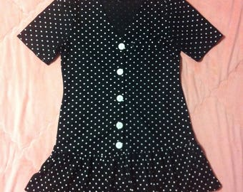Vintage Black and White Polka Dot Dress / 90s Vintage Black White Polka Dot Dress