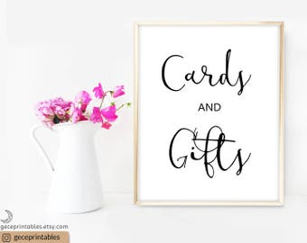 Printable Cards and Gifts Sign: Gift Table Sign, Wedding Gift Table Sign, country wedding decor, printable wedding decorations, calligraphy