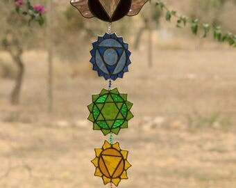 Chakras suncatcher staunned glass yoga decor meditation room altar art work