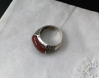 925 sterling silver ring, Carnelian and brilliant French 1950