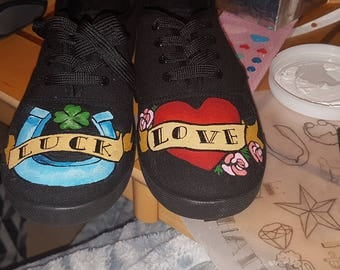 Pretty in Ink Hand-Painted Shoes