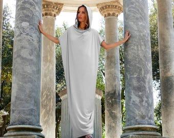 Gray Plus size Tunic Dress, Party Dress, Gray Maxi Dress, Asymmetrical Dress, Evening Dress, Shoulder Dress, Extravagant Dress, Markiiza