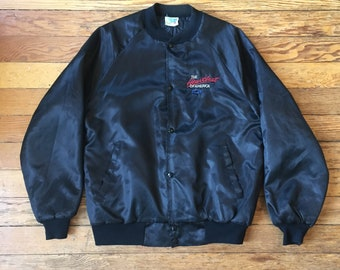 Vintage Chevrolet 'The Heartbeat of America' Satin Bomber Jacket