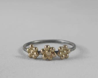14k Gold Triple Three Daisy Flower Stacking Ring * Sterling Silver Band * Wildflower Meadow Springtime Simple Versatile