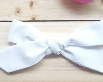 White Linen Oversized Schoolgirl Bow