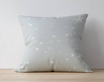 Square Pillow, Decorative Pillow, Star pattern, Girl Room Throw Pillow, Kids Pillow Cushion, Home decor, Nursery Decor, Scandinavian pillow