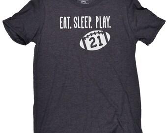 Personalized Football Shirt - Eat Sleep Play Football Shirt - Game Day Shirt - Football - Personalized Unisex Football Number - Football Mom