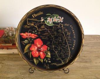 Vintage Florida Souvenir State Tray, Forget Me Not