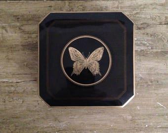 6 Otagiri Japan Butterfly Papillon Coasters Gold On Black