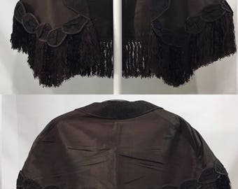 1800's | Antique Shrug | brown silk w/fringe