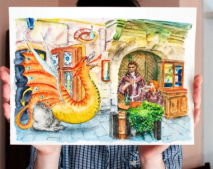 Monks & Dragon Painting, ORIGINAL Watercolor inspired by Medieval Fantasy atmosphere of our Old Town