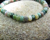 Fancy Jasper, Real Stones - 8 Inch - Healing Crystal - Bracelet- 6mm Semi Precious Beads - Silver Plated accent Bead -Elastic Stretch Cord
