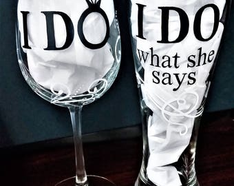 "Hand Painted ""I Do"" Wedding Glasses (Pair)"