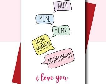 Card for Mum, Mum Birthday card, Funny Mum Birthday card, Thank you card for Mum, Mum i love you card, funny card for mom, mom birthday card