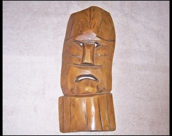 Wood Tribal Mask Wall Decoration Hand Carved More details than pics show