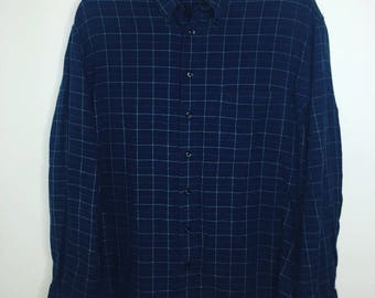 Vintage Dark Blue Flannel