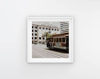 NEW San Fransisco Trolley,Union Square(California Adventure Photo,Travel Photography,Wall Art,Printable Art,Digital Prints,Digital Download)