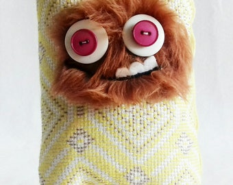 Plush monster fur, fantasy creature,OOAK doll, stuffed toy,soft toy, cute gift, stuffed creature,hand made, UK, cute gift for her