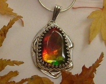 Ammolite Necklace Sterling Silver Boho Chic Large Utah Gem Sterling Silver Handmade Statement Pendant Red Green Yellow Fire  214 G