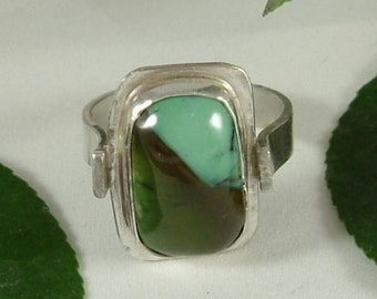 Utah Variquoise Mens Ring Sterling Silver Variscite Transitioning Turquoise Fine Sterling Silver Size 12 Ring Blue Green Brown Black 384 B