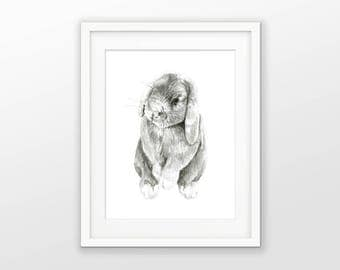 PRINTABLE Bunny Watercolor Art Print, Cute Nursery Digital Prints, Gray Bunny Wall Art, Watercolour Rabbit Print, Baby Animal Poster #3