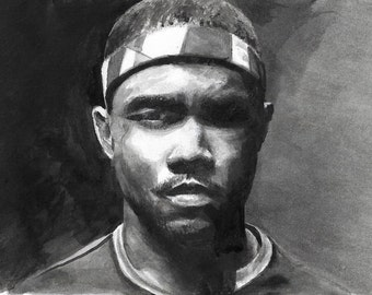 Painting,portrait of Frank Ocean, Watercolour, Acrylic, original giclee print