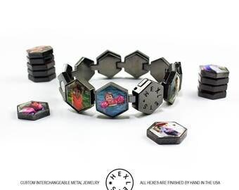 Custom Photo Bracelet - Black - Interchangeable / Personalized