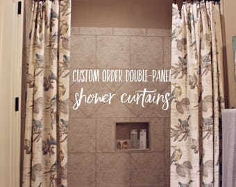 Custom Order Double Panel Shower Curtains, Custom Shower Curtains, Double Panel Shower Curtain, Extra Long Shower Curtain