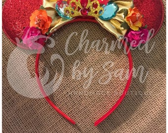 Handmade Elena of Avalor Mickey Ears, elena, Disney Princess, photo prop, headband, Disneyland, Birthday, Minnie Ears