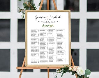 Wedding Seating Chart Alphabetical, Greenenry Wedding Seating Chart, Printable Wedding Seating Chart,  Seating Chart Poster, RUSH SERVICE