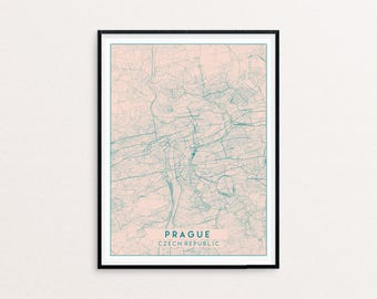 Prague Blush Pink City Map Print, Clean Contemporary poster fit for Ikea frame 50x70cm, gift art him her, Anniversary personalized
