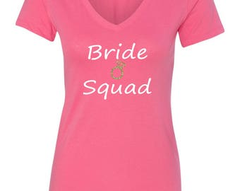 Bridesmaid T-shirt Pink Bride Squad with Glitter