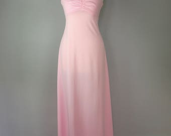 Vintage 70s Maxi Dress - Pink Bridesmaid Dress
