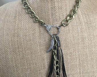 Pavé Diamond Large Brass Chain Necklace