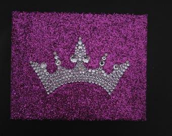 Rhinestone Tiara Canvas Purple Glitter Wall Art handlaid crystals