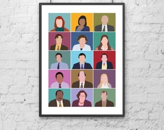 The Office Characters Print | illustration | design | poster | modern | minimal | digital | portrait | tv show | dunder mifflin | gift idea