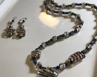 Silver and Blue Swirl Glass Bead Necklace - Handmade