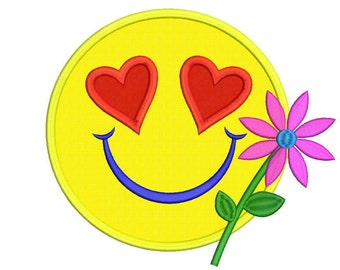 Applique Smiley Machine Embroidery Design - 5 Sizes