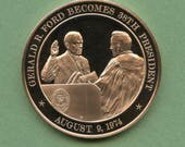 Franklin Mint Medal History Of United States Series: Gerald Ford Becomes 38th President 1974, 44 mm Bronze Mint Condition<>#PSY-447