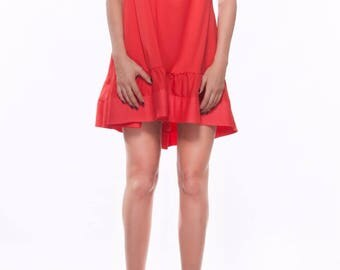 One shoulder red dress/ Loose mini dress/ oversize tunic/ Assymetric/ Extravagant party dress/ Casual dress