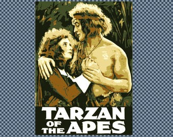 Embroidery Tarzan of the Apes movie poster. Digitized image from public domain.