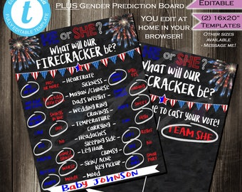 SAVE! Bundle 4th of July Gender Reveal Party Chalkboard plus Matching Cast your Vote Team He She- Firecracker July 4th INSTANT Self-EDITABLE