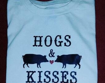Hogs and Kisses Shirt 4H Fair Farmer Pig Love