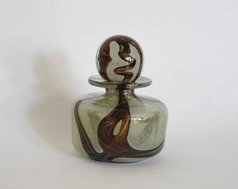 Large Mdina Art Glass Perfume Bottle + Stopper, Earthtone Design, Vintage Michael Harris C. 1970