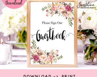 Please Sign Our Guestbook Sign, Wedding Guestbook Printable, Wedding Guestbook Sign, Floral Guestbook Sign, Floral Wedding Decor, Printables
