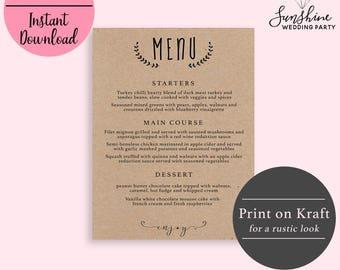 Kraft Wedding Menu Template, Wedding Menu Template, Wedding Menu Printable, Wedding Menu Cards, Table Menu, Menu Sign, PDF Instant Download