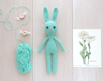 Minty Color soft knitted Bunny/Amigurumi toy/Cute crochet bunny rabbit/Plushy bunny baby/Children collectible Toy/Car&Home toy accessory