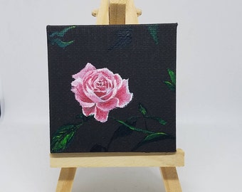 Pink Rose Acrylic mini Painting with Easel